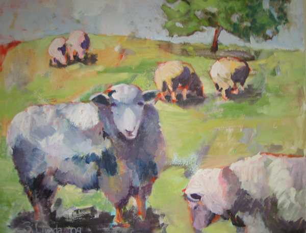 Susan Livada: Sheep on a Hillside